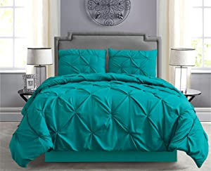 Empire Home Pintuck Hypoallergenic 8-Piece Bed in A Bag Comforter Set - Sheet Set Included!! (Teal, Queen)