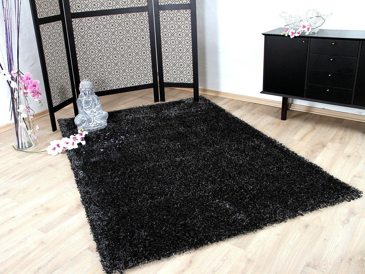 Glamour Hochflor Langflor Shaggy Teppich Anthrazit in 6 Größen