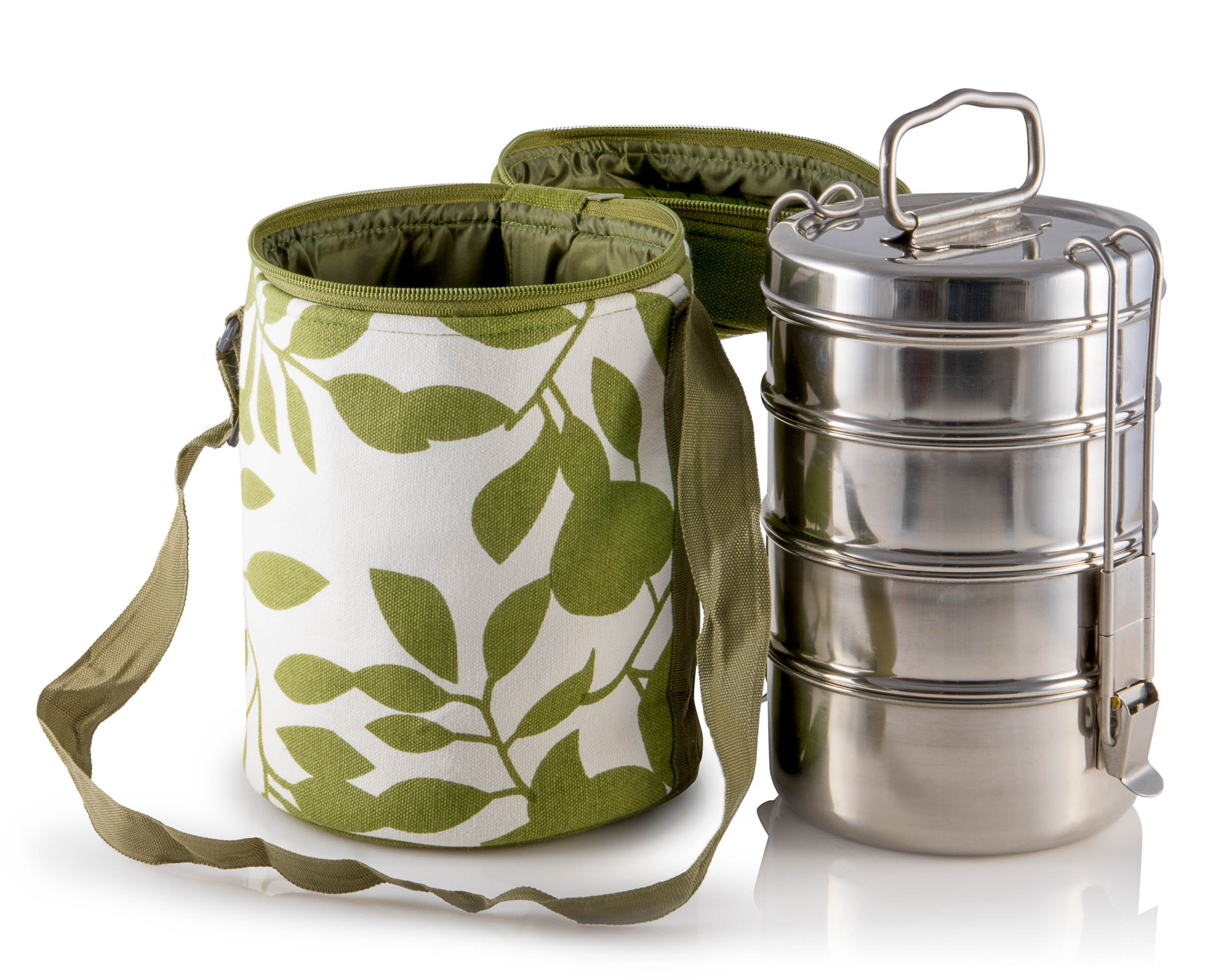 4 Tier Large Tiffin With Thermally Insulated Green Leafy Patterned Tiffin Bag Carrier by Indian-Tiffin