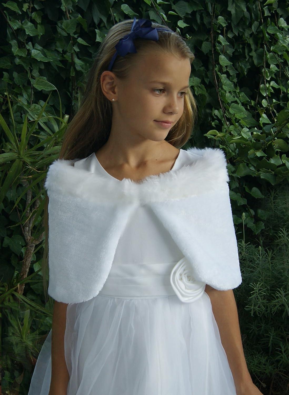 Chal estola piel sintetica blanco niña comunion: Amazon.es: Handmade