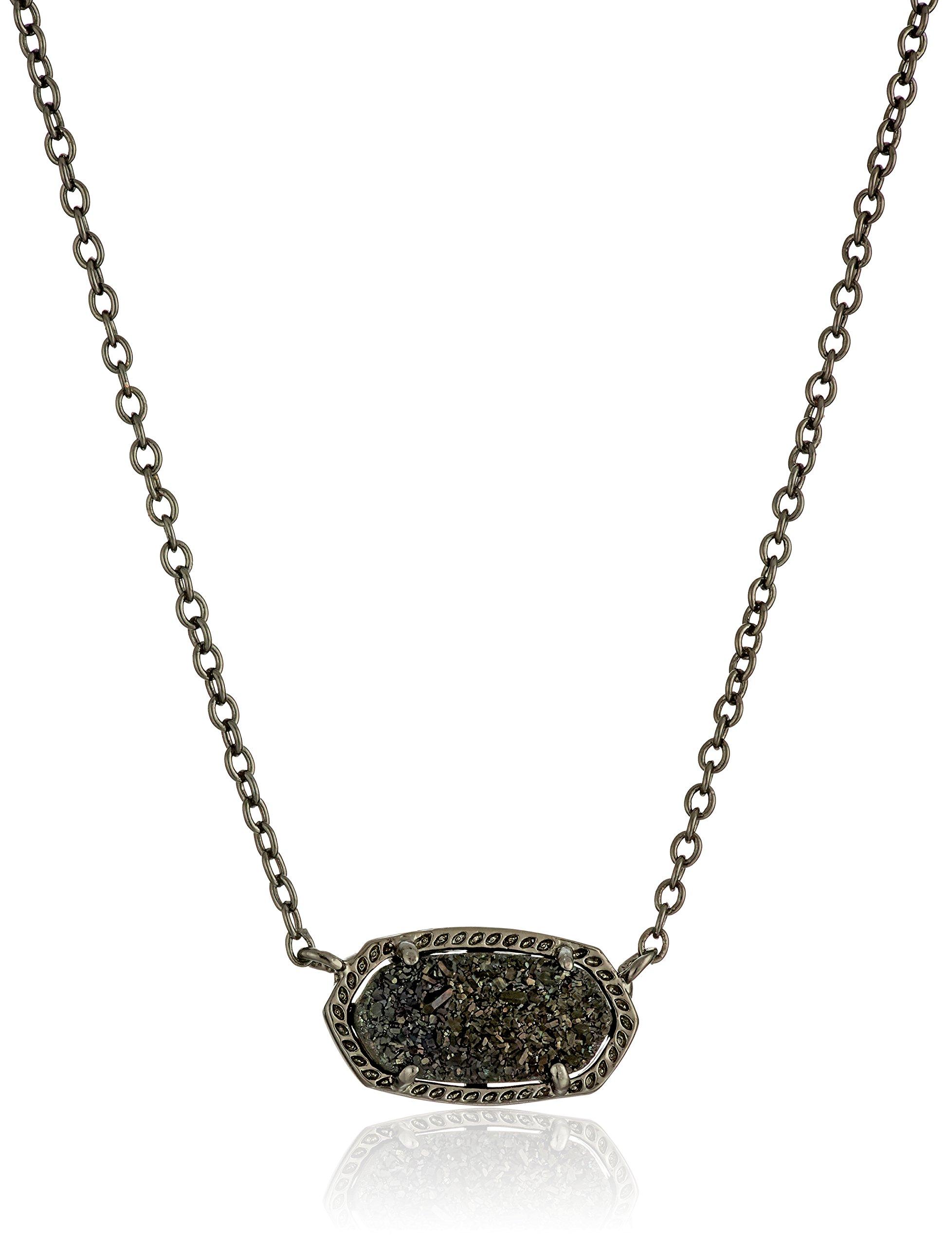 Kendra Scott Signature Elisa Gunmetal Plated Black Drusy Pendant Necklace
