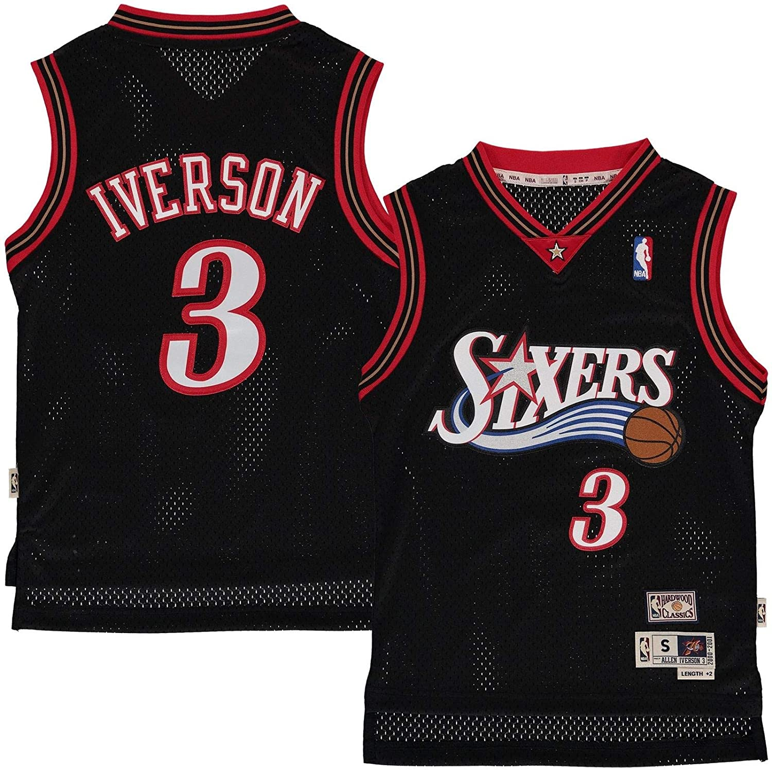 lowest price 0f63b 278eb Outerstuff Allen Iverson Philadelphia 76ers #3 Black Youth Throwback Soul  Swingman Jersey (X-Large 18/20)