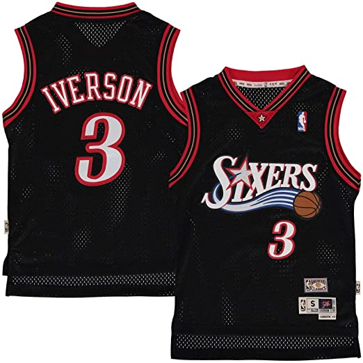 lowest price 4b42a e2dd3 Outerstuff Allen Iverson Philadelphia 76ers #3 Black Youth Throwback Soul  Swingman Jersey (X-Large 18/20)