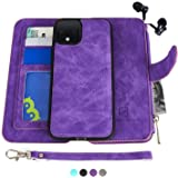 MODOS LOGICOS Google Pixel 4 Case, [Detachable Wallet Folio][2 in 1][Zipper Cash Storage][Up to 14 Card Slots 1 Photo Window] PU Leather Purse with Removable Inner Magnetic TPU Case - Purple