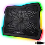 KLIM Ultimate + RGB Laptop Cooling Pad with LED Rim + Gaming Laptop Cooler + USB Powered Fan + Very Stable and Silent Laptop