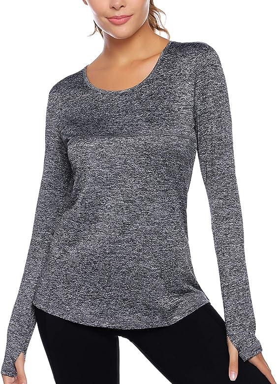 Secado r/ápido Camiseta Deportiva para Mujer Sykooria el/ástica Manga Media para Yoga