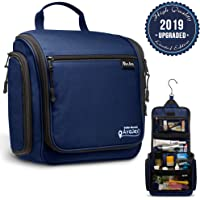 "Hanging Toiletry Bag for Women and Men - Deluxe Large Travel Toiletry Organizer - Waterproof Hygiene Bag with Metal Swivel Hook and 17 Compartments for Travel Toiletries, Makeup, Cosmetics 11.02''x3.23''x9.84"" Navy Blue"