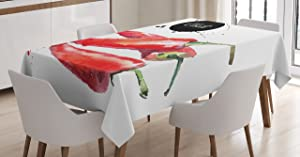 Ambesonne Food Tablecloth, Hand Drawn Watercolor Illustration of Chili Pepper Spicy Ingredient, Rectangular Table Cover for Dining Room Kitchen Decor, 52