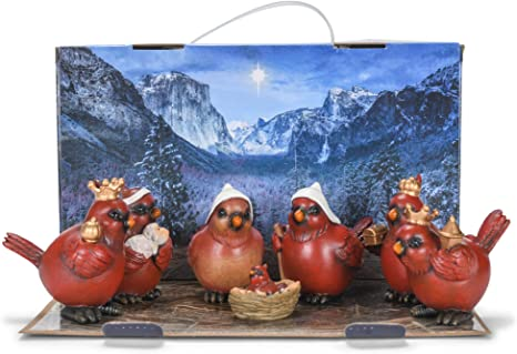 Roman 133828 Cardinal Nativity, Set of 7, 3-inch Height, Red, Resin