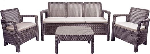 Keter - Conjunto de jardín 5 plazas Tarifa Lounge Triple con cojines incluidos, Color marrón: Amazon.es: Jardín