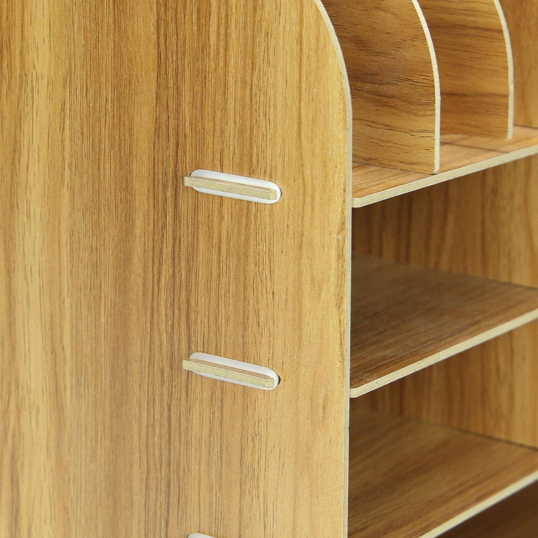Pukkr Organizer per desktop quadrato in legno Cancelleria per ufficio e archiviazione documenti 13 scomparti Organizzatori di file e riviste in formato A4 Portamatite