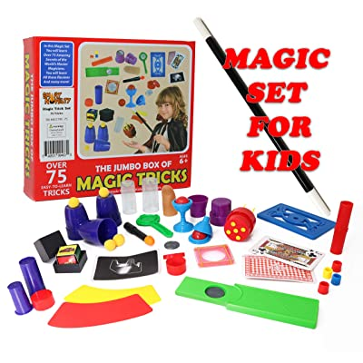 Smart Novelty Kids Magic Trick Set with Wand, Cards and More Magic Toys - Easy Magic Tricks for Beginners and Children - Awesome Magic Set with 75 Magic Tricks for Kids Ages 6-10 Boys Girls: Toys & Games
