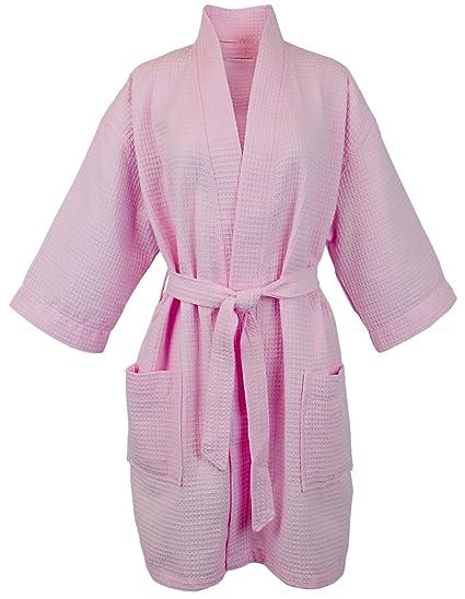 d15dae673c Amazon.com  BC BARE COTTON Thigh Length Waffle Kimono Robe One Size ...