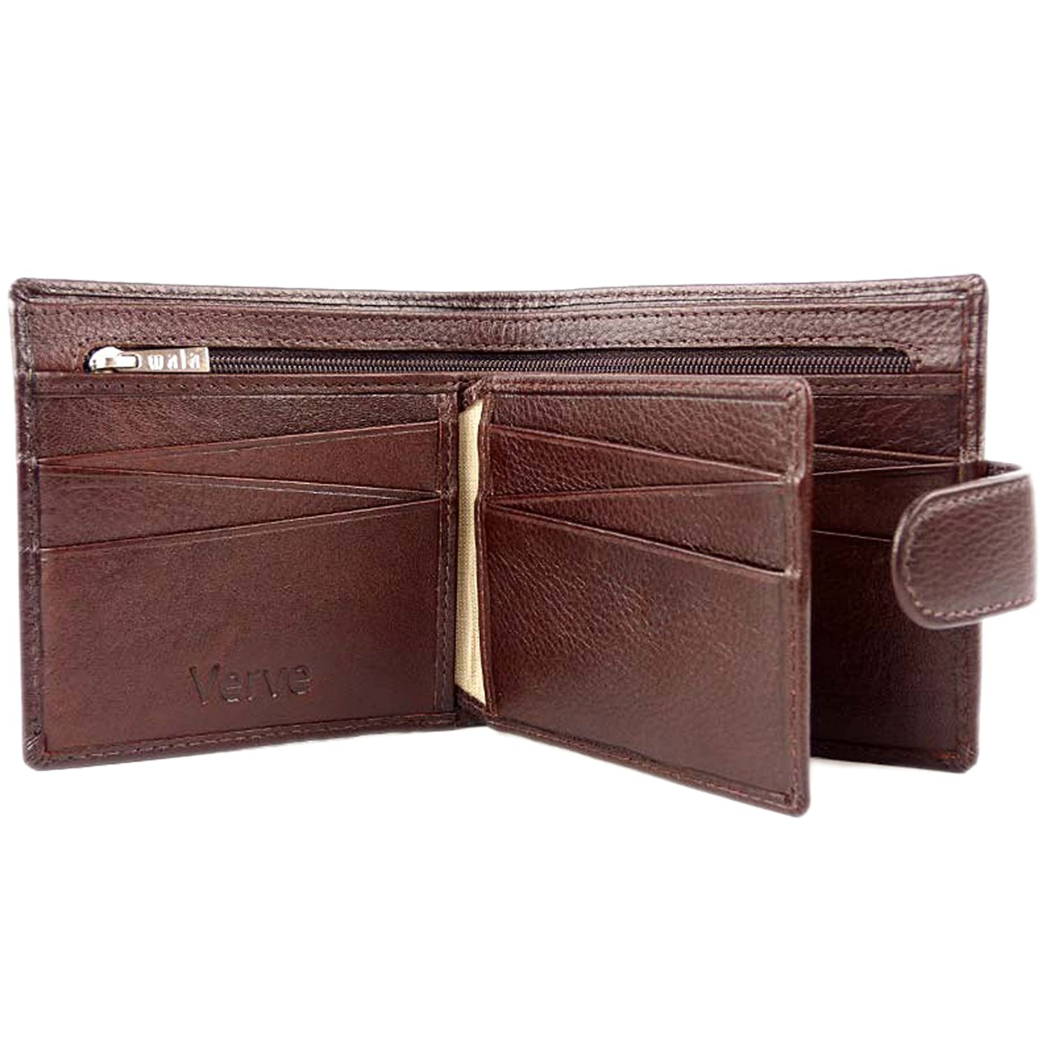 f9383395b74cd7 Mens Quality Brown LEATHER WALLET by VERVE Gift Boxed MALA 12 Card Slots:  Amazon.co.uk: Clothing