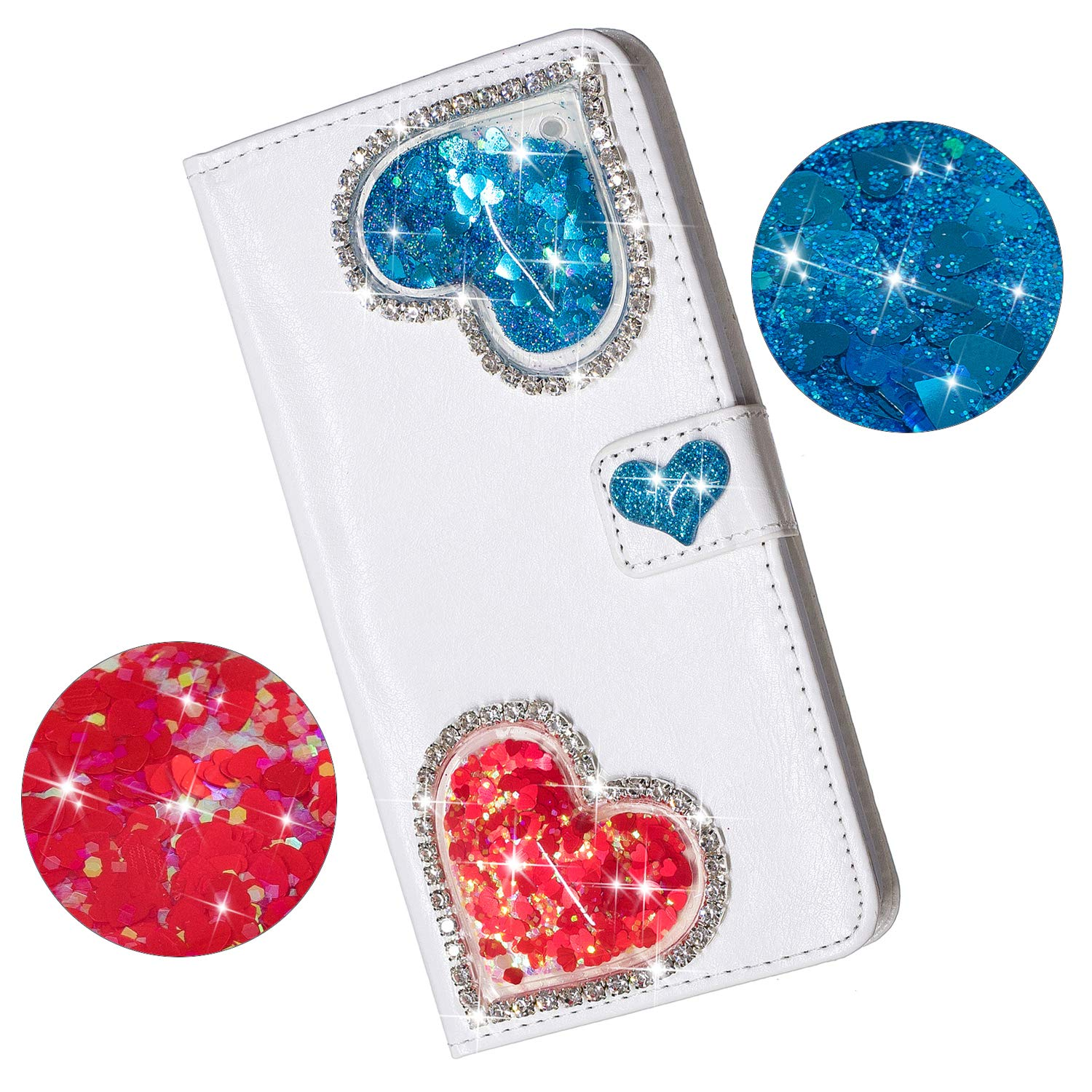 Yobby iPhone 7 Wallet Case,iPhone 8 Diamond Purse Case 3D Bling Floating Glitter Cute Heart White PU Leather Flip Cover with Card Holder Stand Magnetic Protective Shell-Blue by Yobby (Image #1)