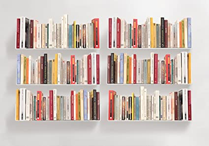 teebooks bookshelves set of 6 steel white 236 - Steel Bookshelves