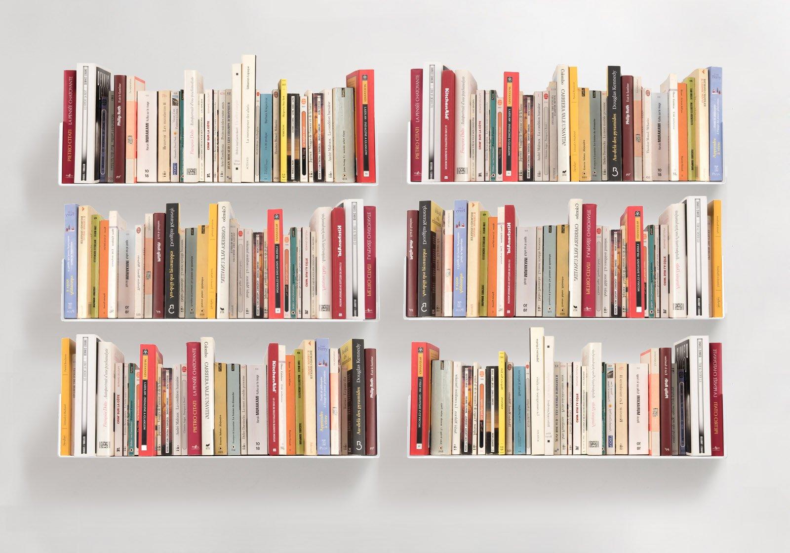 Bookshelves ''U'' - Set of 6 white wall shelves - TEEbooks