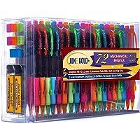 June Gold 72 Mechanical Pencils, 0.5 mm HB #2 Lead, 2 Lead Dispensers/w 220 Refills & 16 Refill Erasers, Break Resistant Lead, Convenient Side Click & Soft Non-Slip Grip