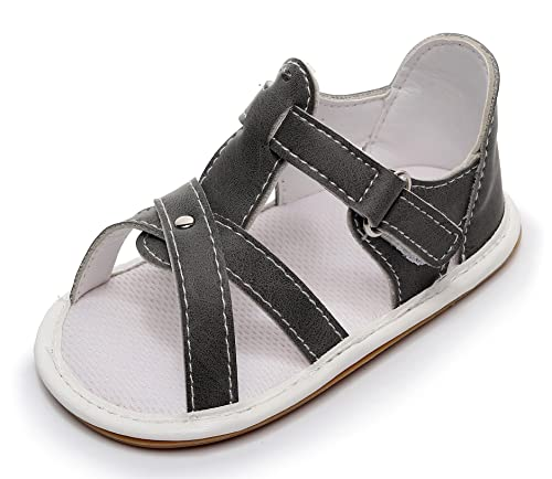 Bebila Rubber Sole Baby Girl Summer Shoes - Baby Boys Sandals with Pu Leather First Walkers