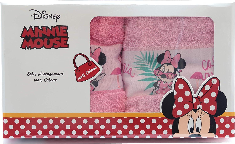 Disney 2 Asciugamani per Bambini//Foulard 40 x 60 cm 100/% Cotone Ottimo Regalo per Ragazze MS06 Minnie Mouse