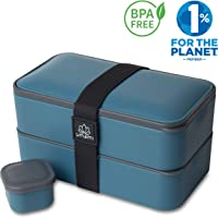 Umami Bento Original | Lunchbox Mit 2 Luftdichten Fächern Plus 3-Teiligem, Robusten Besteck | Geeignet Für Erwachsene Und Kinder | Spülmaschinen- Und Mikrowellenfest
