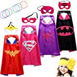 Lazu Superhero Dress Up Costumes Girls Capes and Masks set of 4 with Silicone Glow Bracelet and Hair Band