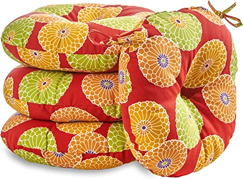 Greendale Home Fashions 18 in. Round Outdoor Bistro Chair Cushion set of 4 , Flowers On Red