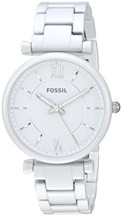Fossil Womens Carlie Quartz Stainless Steel Dress Watch Color: White (Model: ES4401)