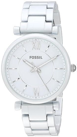 0d3f27dedb9f Amazon.com  Fossil Women s Carlie Quartz Stainless Steel Dress Watch Color   White (Model  ES4401)  Watches