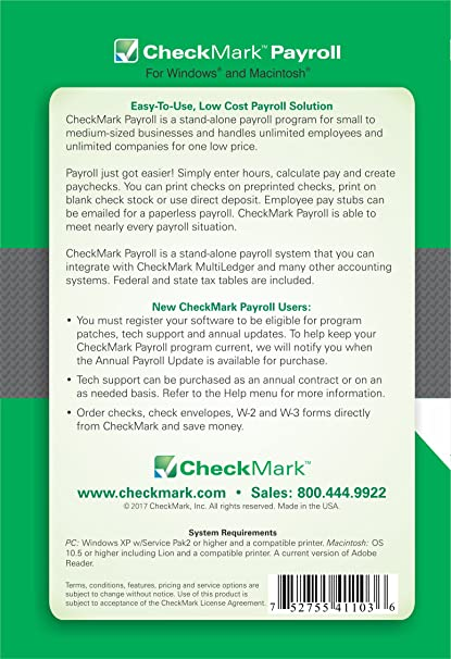 AmazonCom Checkmark Payroll Software  For Windows Or Mac