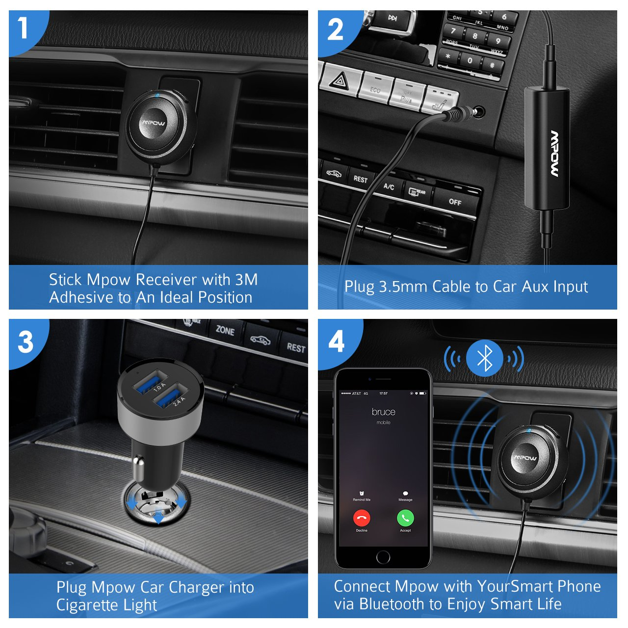 Mpow Bluetooth Receiver Car, Hands-Free Car Kits/Bluetooth AUX Car Adapter 3 in 1 Dual USB Car Charger & Ground Loop Noise Isolator Car Audio System (HFP/HSP/A2DP/AVRCP) by Mpow (Image #7)