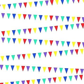 120 M de doble cara multicolor triángulo bandera banderín banderines de fiesta decoración: Amazon.es: Juguetes y juegos