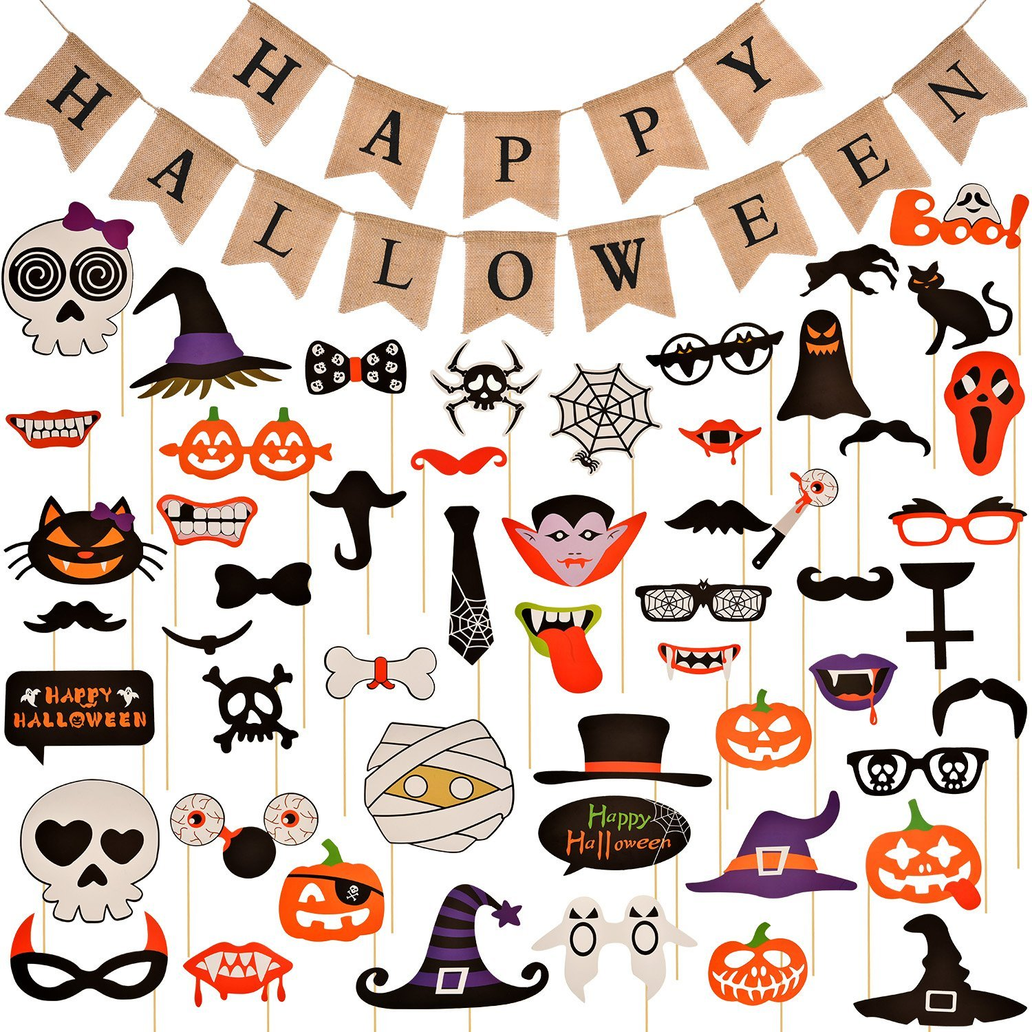 Jovitec Halloween Burlap Banner 52 Pieces Assorted Photo Booth Props Party Festival Halloween Decorations