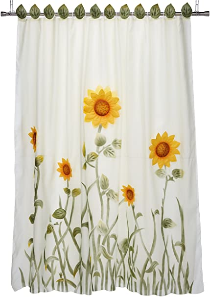 Chezmoi Collection White Green Yellow 3D Sunflower Shower Curtain With Liner And 12