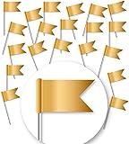 20 Stück - Markierungsfahnen DELUXE - MATT-GOLD - Markierungsfähnchen für Pinnwand & Weltkarten-Landkarten