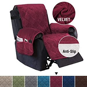 """H.VERSAILTEX Slip Resistant Velvet Recliner Slipcover with Pockets and 2"""" Straps, Seat Width Up to 28"""" Washable Furniture Protector, Ultra Soft and Thick Covers for Dogs (Recliner: Burgundy)"""
