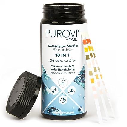 Purovi® Kit de Tiras para Análisis de Agua 10 en 1 | 60 Tiras para ...