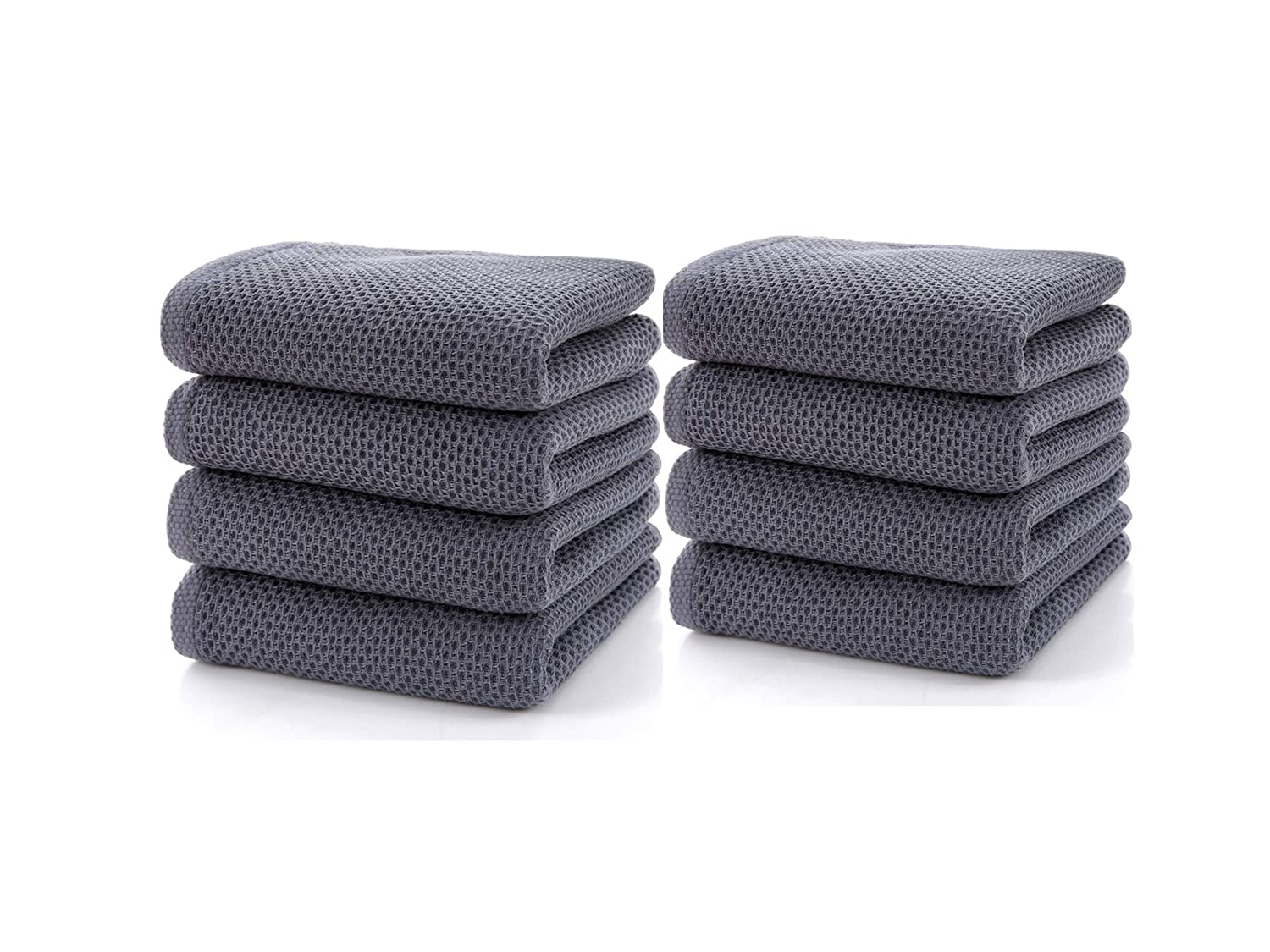 Cc Caihong Bathroom Towels 100 Cotton Waffle Weave Drying Natural Hand Towel Set 8 Pack 13 Inch X 29 Inch Grey Blue