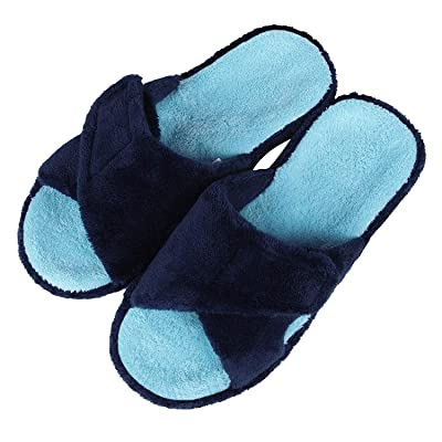 Adjustable House Slippers with Arch Support Open Toe Fuzzy Slide Sandals | Slippers