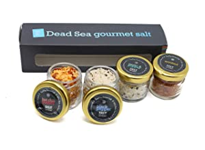 Gourmet Sea Salt Sampler 4-Pack - Organic Dead Sea Seasoning Salt Variety Set Including Kosher Garlic Salt With Pepper, Black Pepper Salt, Hot Chili Pepper Salt, Smoked Salt, 0.88oz