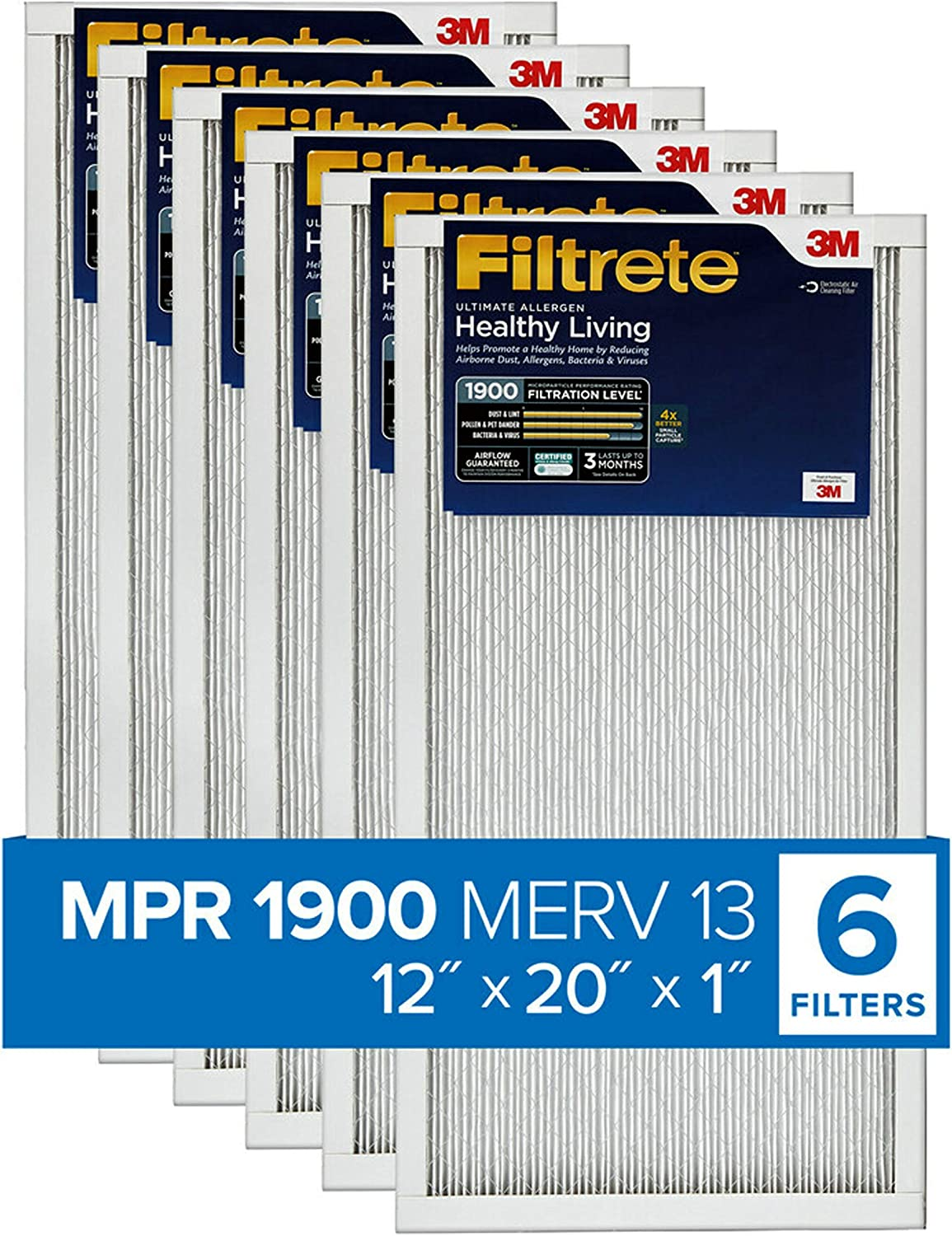 Filtrete 12x20x1, AC Furnace Air Filter, MPR 1900, Healthy Living Ultimate Allergen, 6-Pack (exact dimensions 11.81 x 19.81 x 0.78)