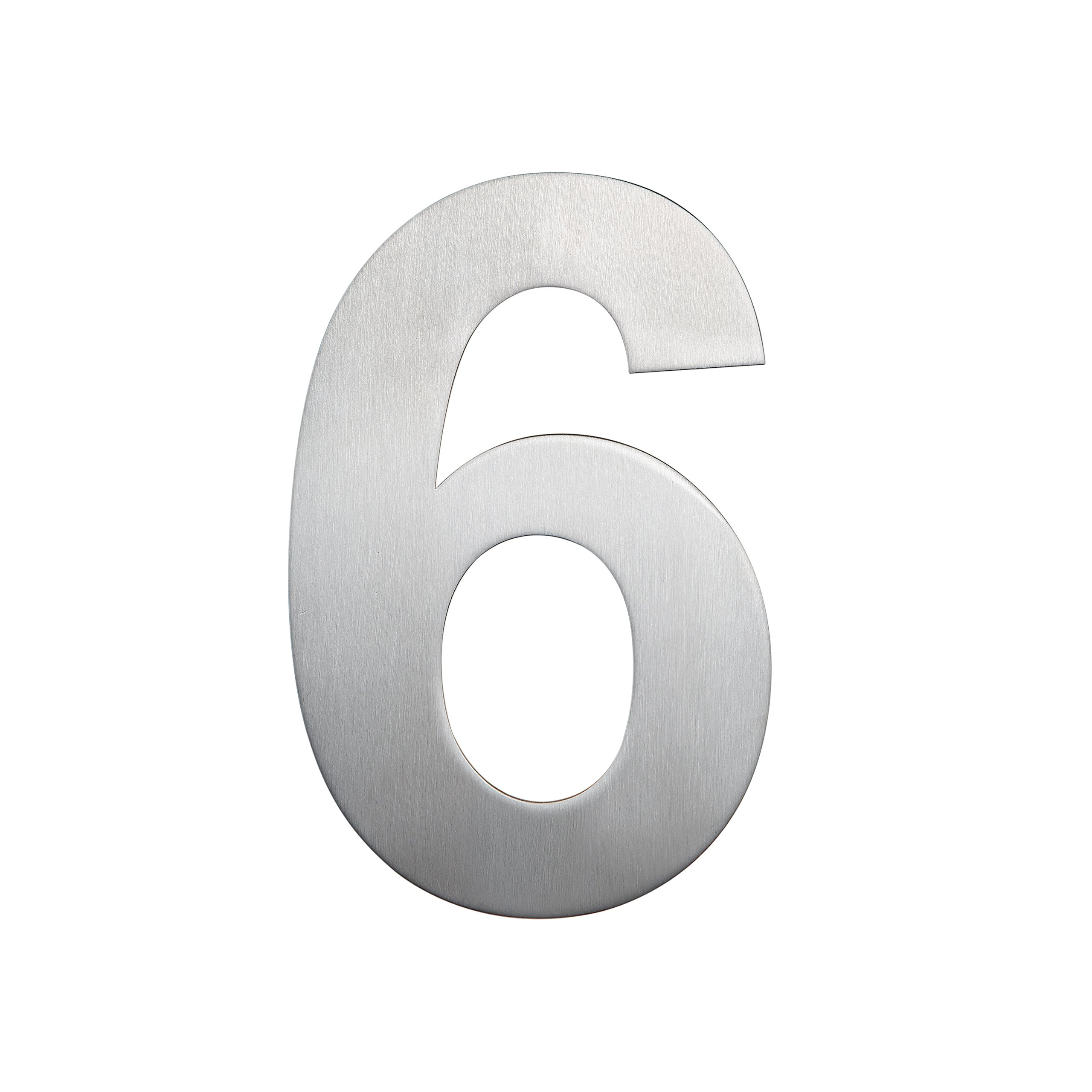 QT Modern House Number - SMALL 4 Inch - Brushed Stainless Steel (Number 6 Six / 9 Nine), Floating Appearance, Easy to install and made of solid 304