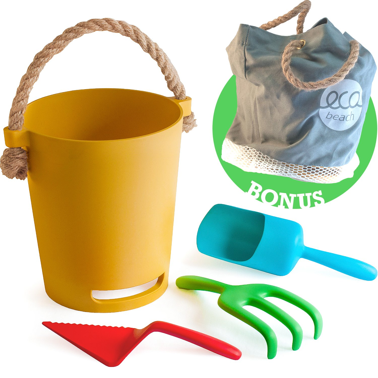 Eco Beach Toy Set for Toddlers & Kids | Biodegradable Natural Bamboo Fiber Sand Toys | Includes Carry Tote Bag with Mesh Base | Non Plastic Beach Toys for Boys & Girls of Any Age