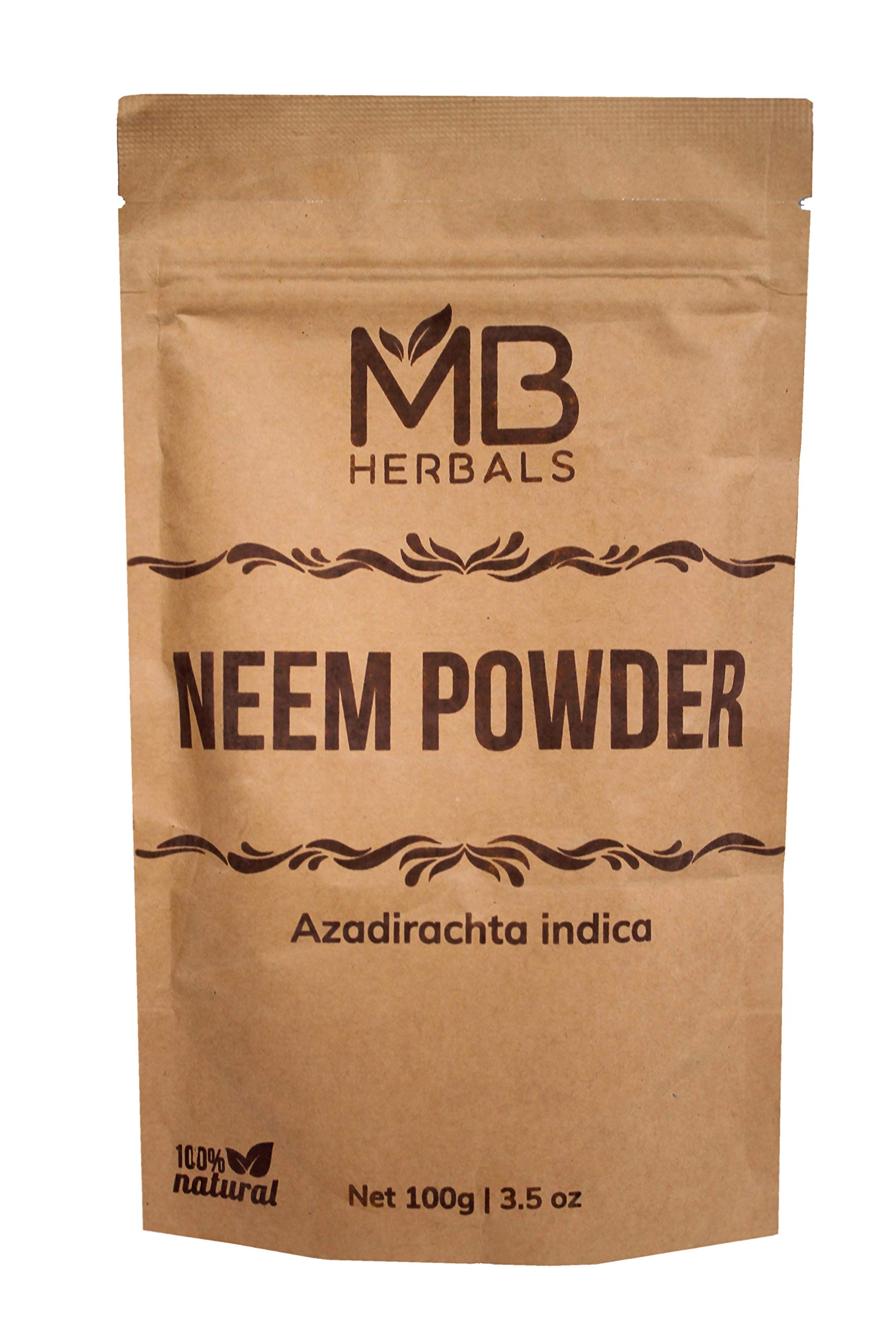 MB Herbals Pure Neem Leaf Powder 100g / 3.5 oz - 100% Pure - Wildcrafted - Very Bitter Neem Supplement for Skin Hair & Detox - Azadirachta Indica