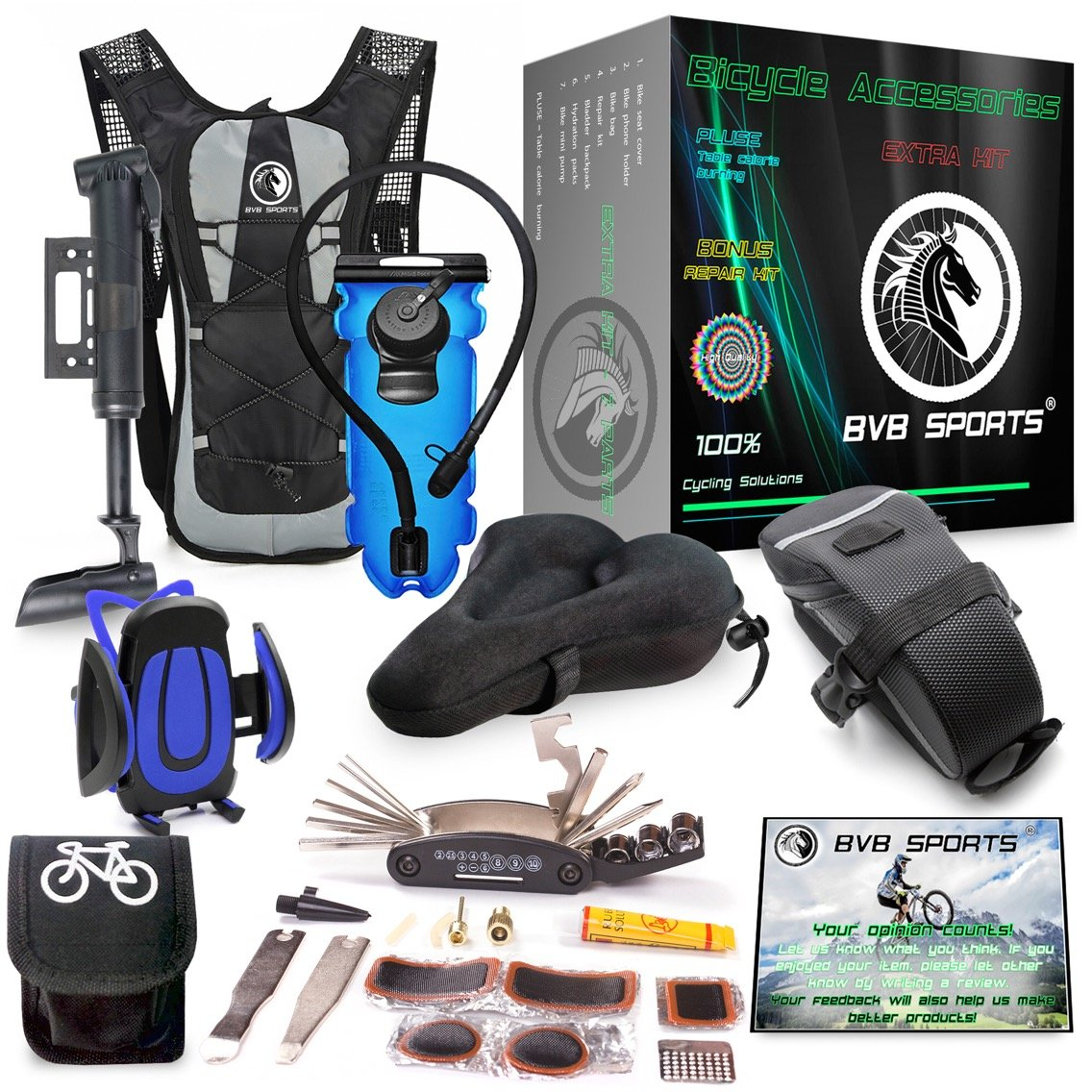 Bike Accessories & Cycling Equipment Set : Bicycle Phone Handlebar Mount (iPhone, Samsung, Etc.), Water Backpack, Bicycles Seats Cushion Cover, Under Seat Pouch, Bikes Repair Tool Kit, Mini Pump