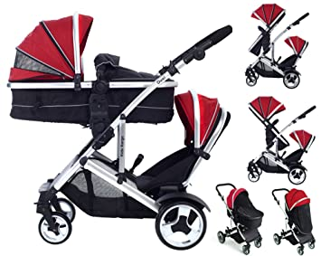 Duel Combo Double Pushchair With Carrycot Pram Newborn Toddler Tandem Travel System Buggy Pramette