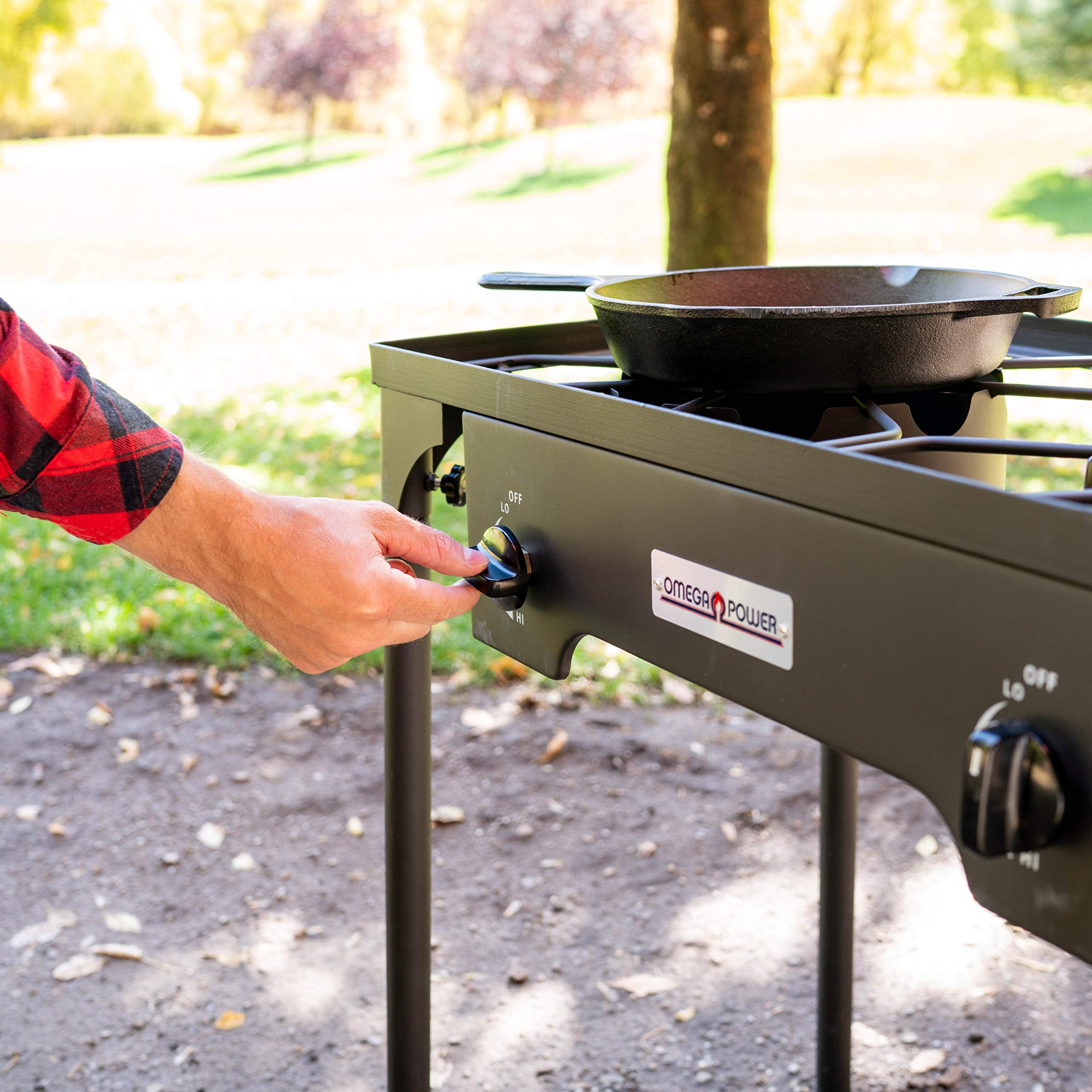 Leaderware High Pressure Gas Cooking Stove with 2 Burners, Outdoor Camping Kitchen Accessories by Leaderware (Image #4)