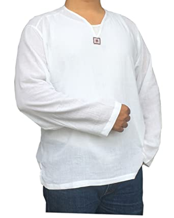 a7a06b14 PJ Men's Shirts White Color 100% Cotton for Holiday, Beach, Yoga, Hippie