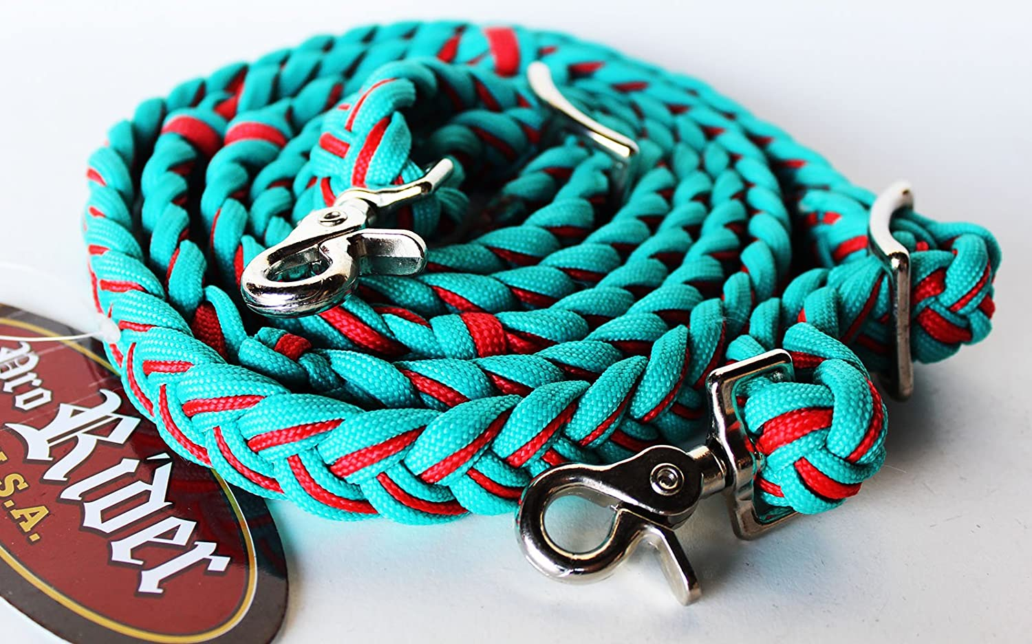 Horse Western Knotted Nylon Braided Barrel Roping Reins Teal Black 60701TL