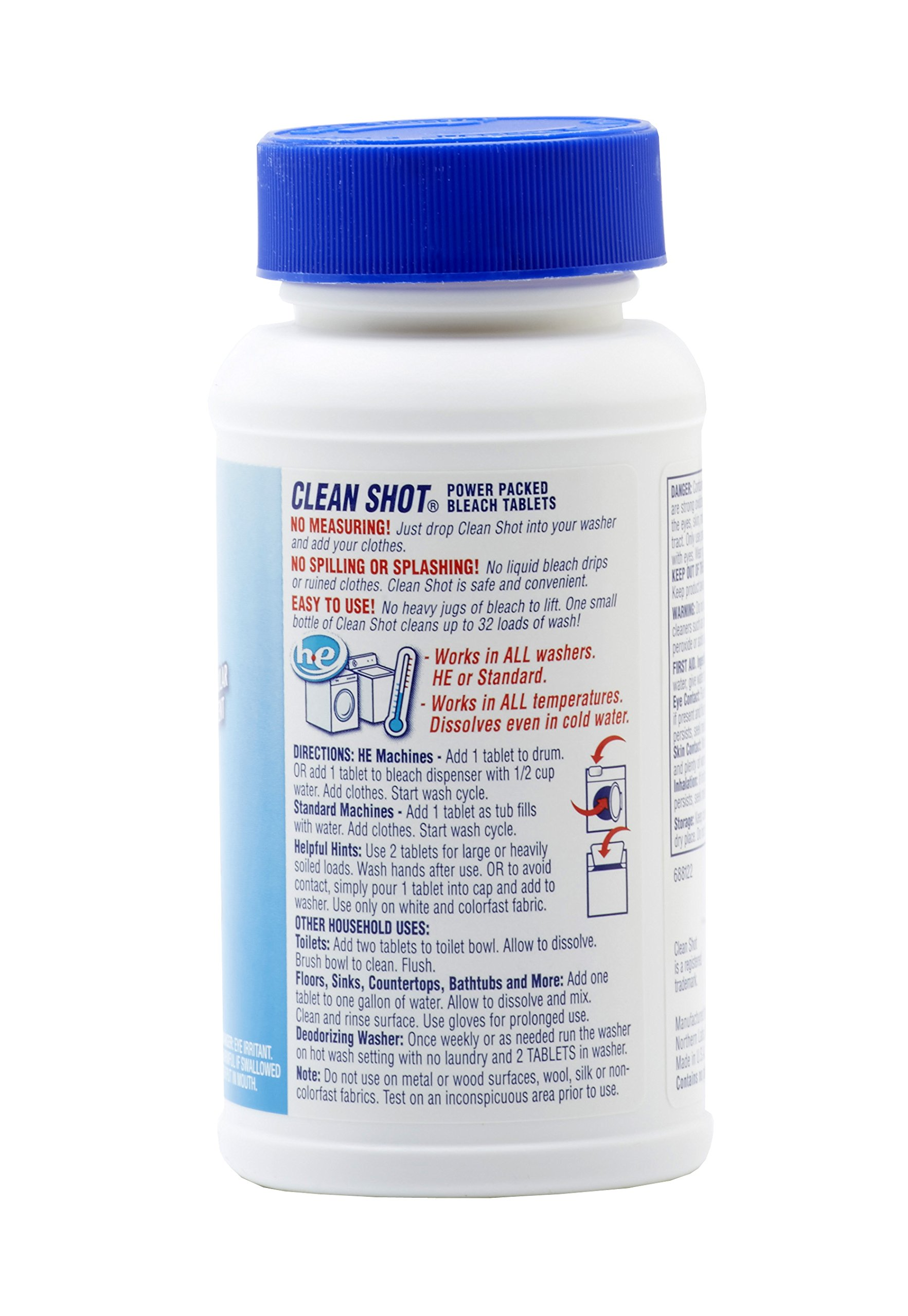 Clean Shot Bleach Tablets - 32 Ct. (5.64 oz) Concentrated Bleach Cleaner - For Laundry, Kitchen, Bathroom Tiles - Original Scent